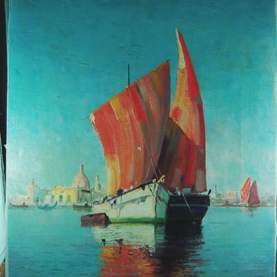 Danish Artist Arup Jensen Marine Scene Venice