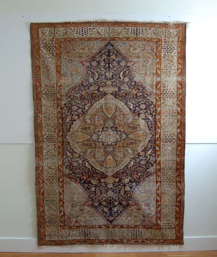 ANTIQUE Silk Persian Rug Carpet…100 BIRDS… Estate Sale