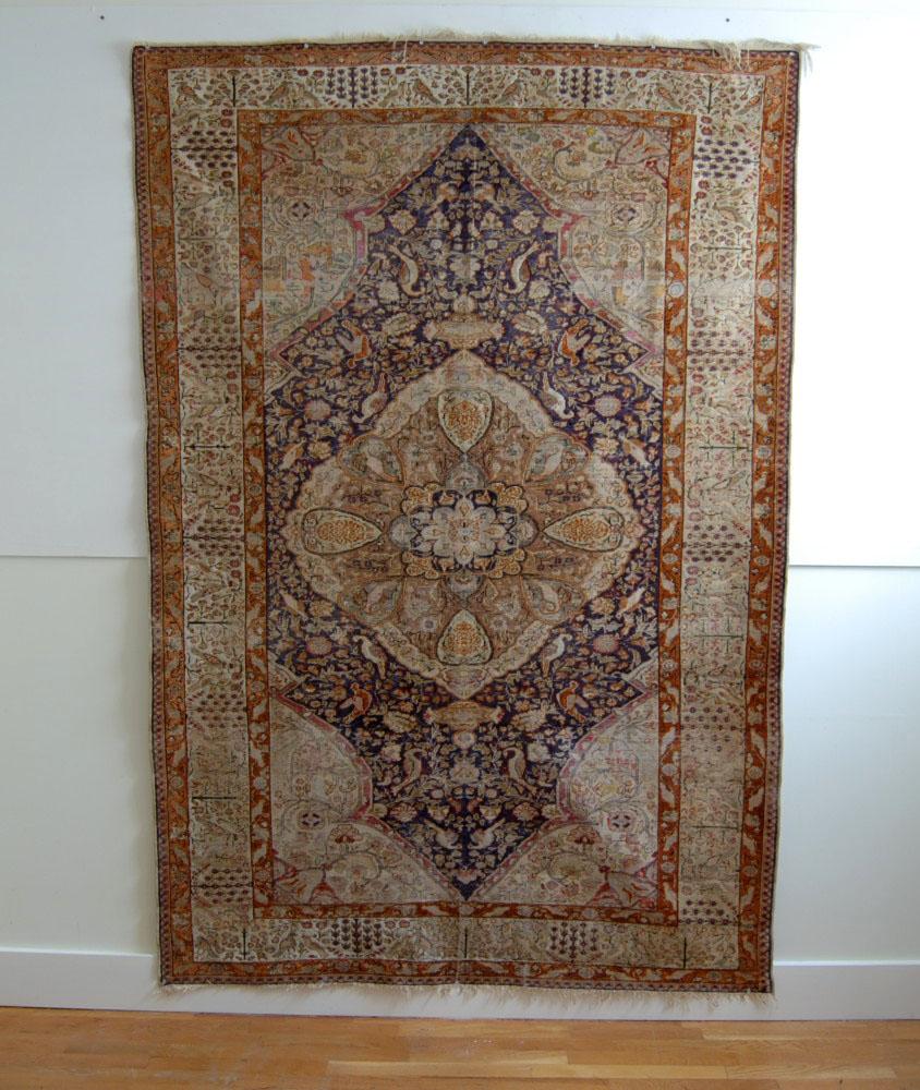 Antique Silk Persian Rug Carpet 100 Birds Estate Sale
