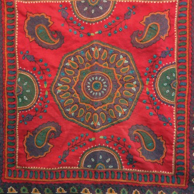 Persian Kerman Pateh Red Wool Embroidery Table Cover