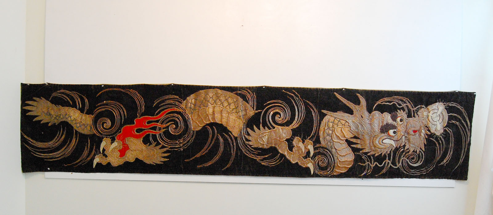 Asian Embroidered Dragon Scroll Banner Japanese Meiji
