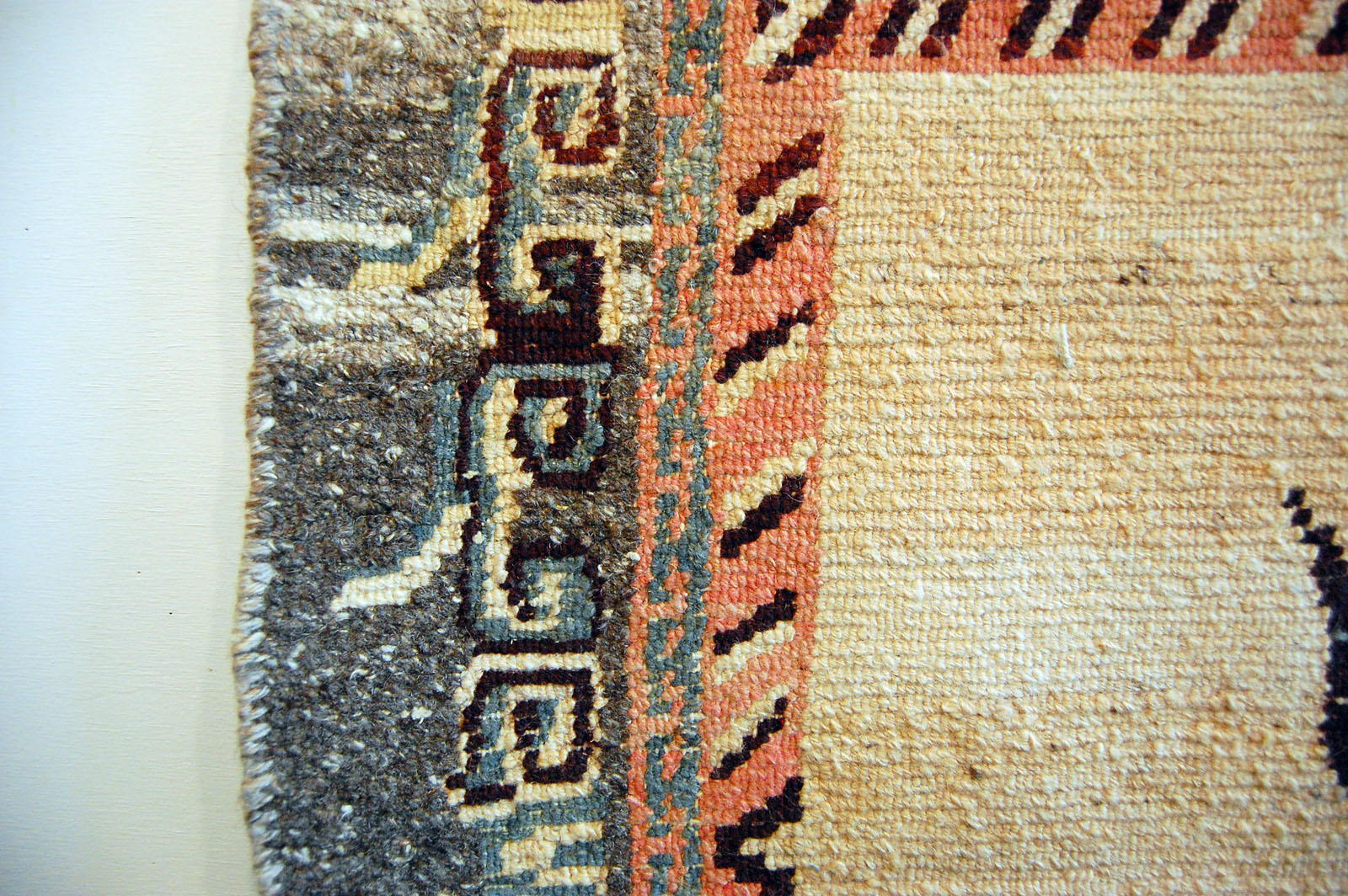 Oriental Rug Tibetan Meditation Mat Vintage Wool Buddhist Longevity