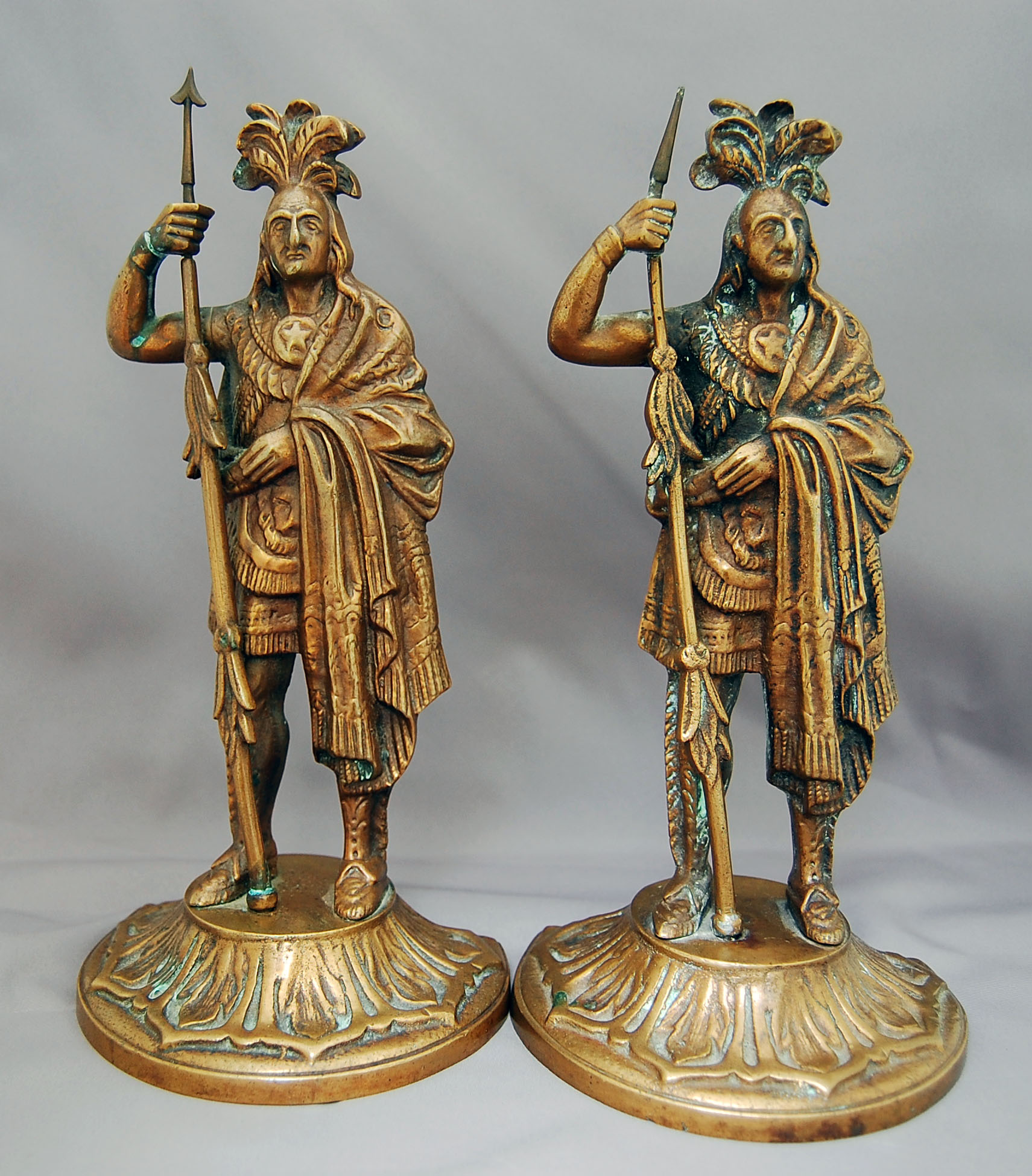 Pair antique bronze brass cast native american chief bookends westwillow antiques - Antique brass bookends ...